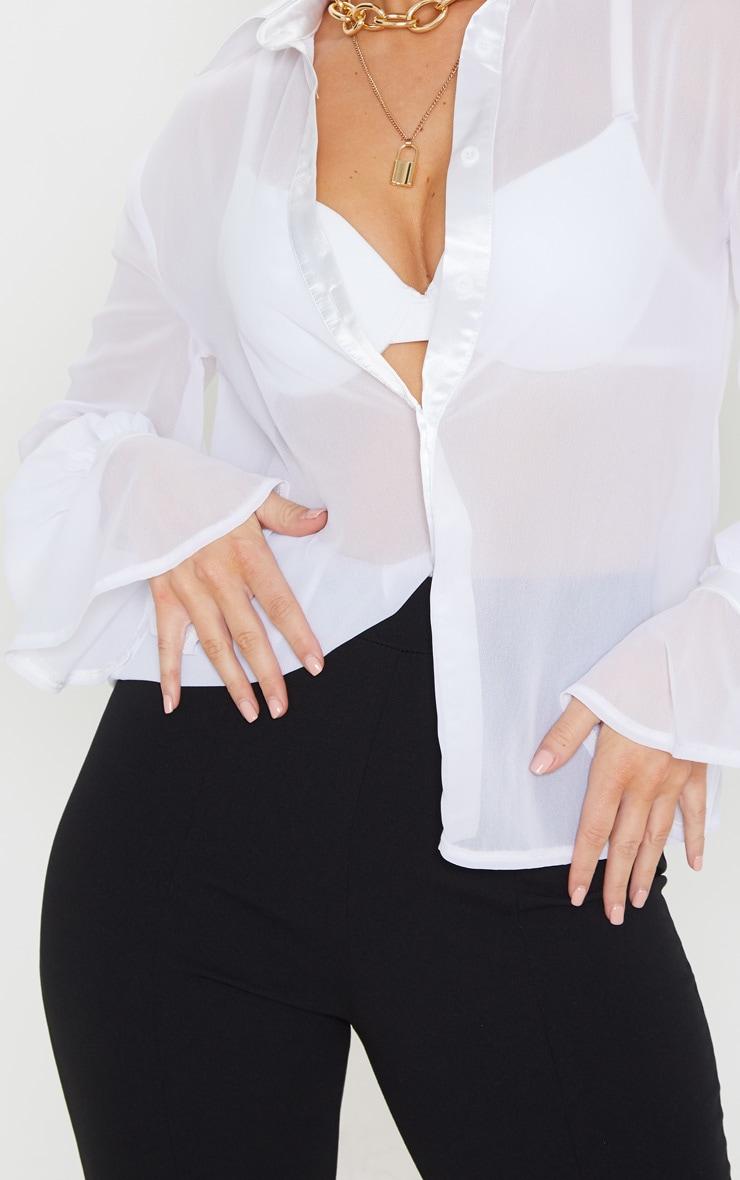 White Chiffon Frill Cuff Shirt 5