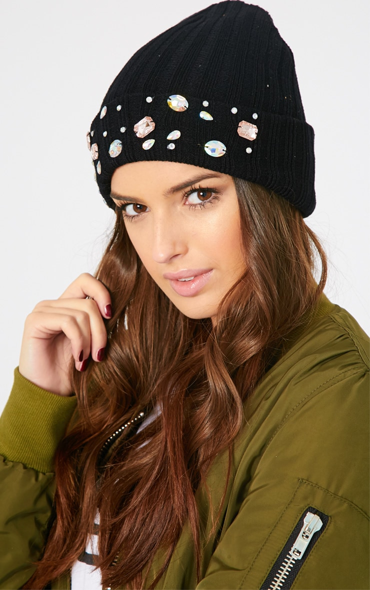 Aggie Black Jewelled Beanie Hat 1