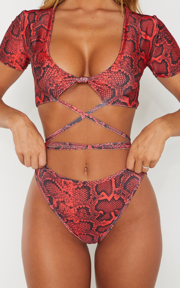 Red Snake Print High Cut Bikini Bottom 4