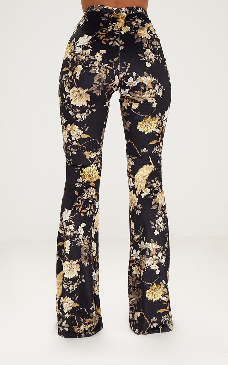 Black Floral Velvet Flared Trousers 4