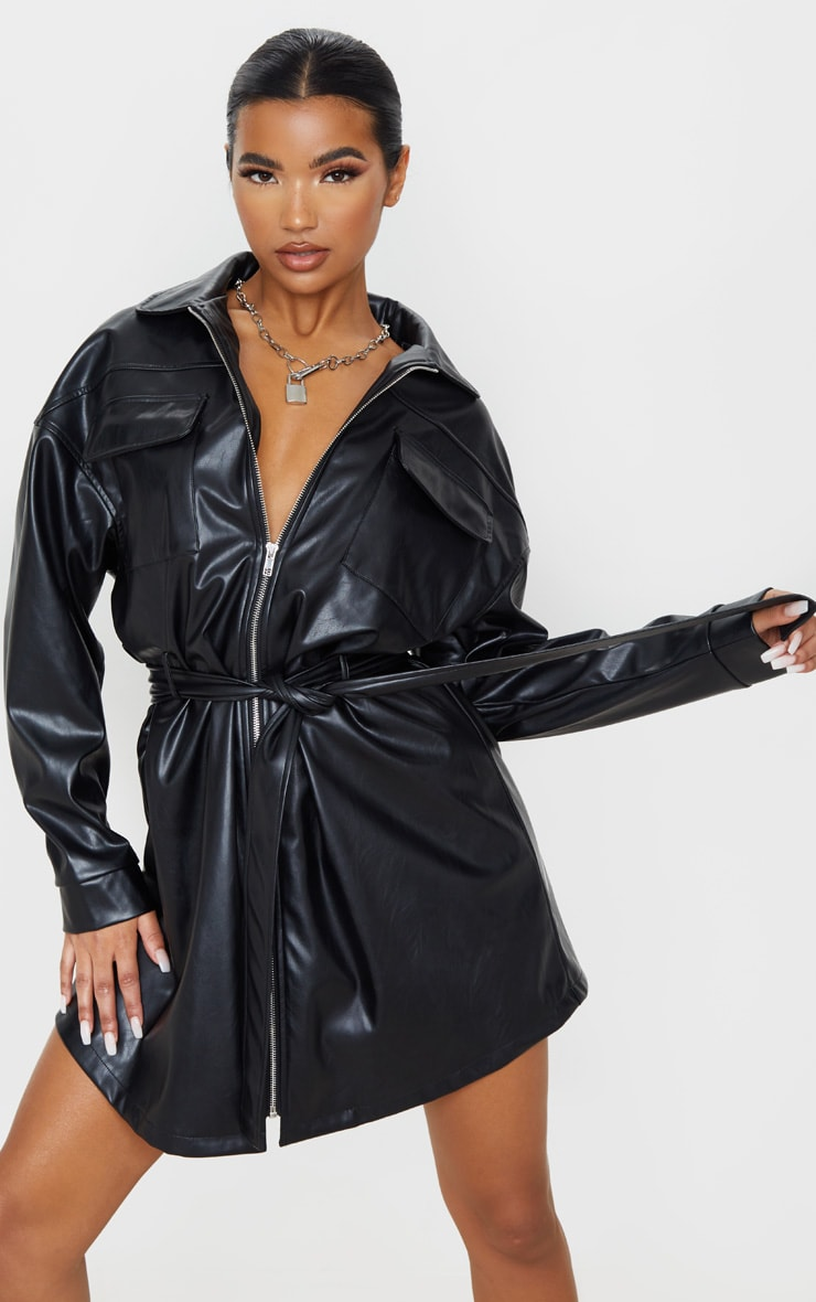 Black Faux Leather Zip Front Belted Long Sleeve Shirt Dress 4