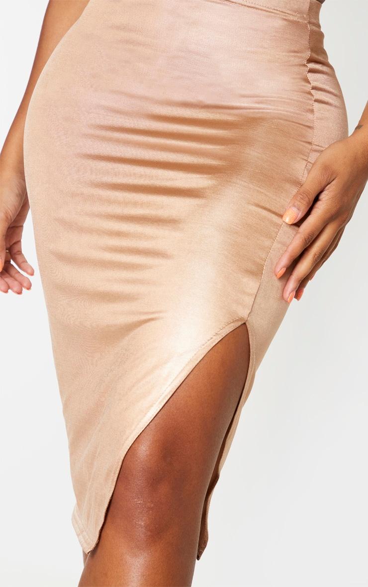 Shape Taupe Metallic Slinky Slit Front Midi Skirt 5