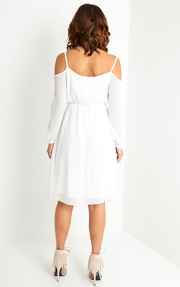Jena Cream Cold Shoulder Chiffon Dress 2