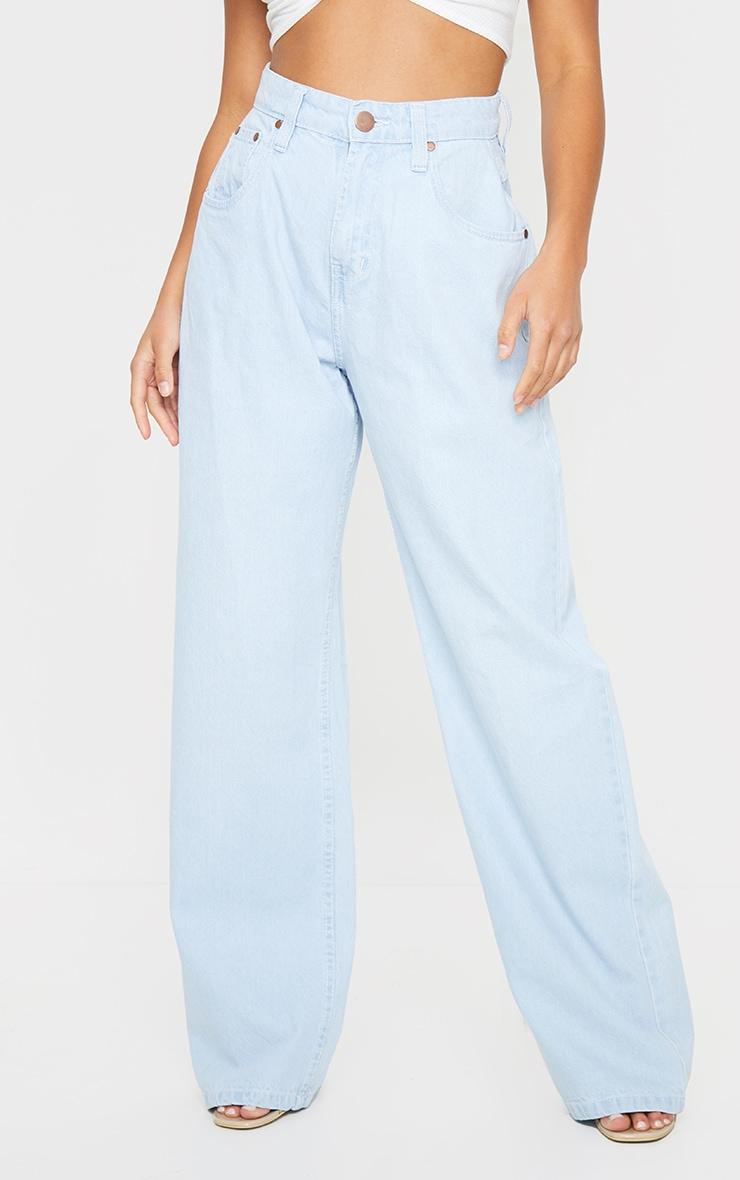 Petite Bleach Wash Extreme Wide Leg Jean 2