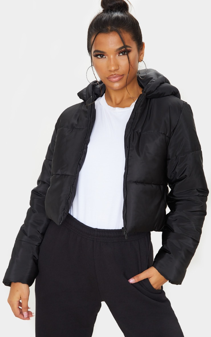 Black Hooded Cropped Puffer  1