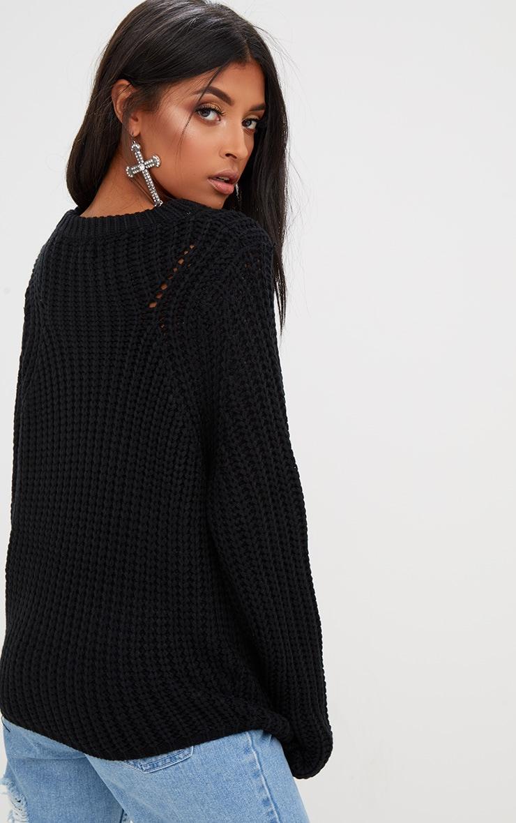 Black Chunky Knit Round Neck Jumper 2