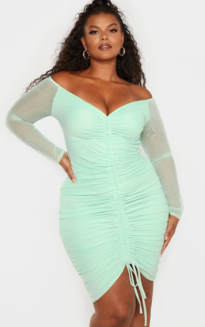 aff470c283 Plus Mint Mesh Ruched Bardot Midi Dress PrettyLittleThing Sticker
