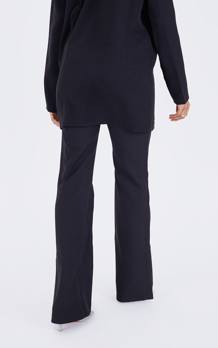 PRETTYLITTLETHING Black  Woven High Waisted Tailored Flare Trousers 3