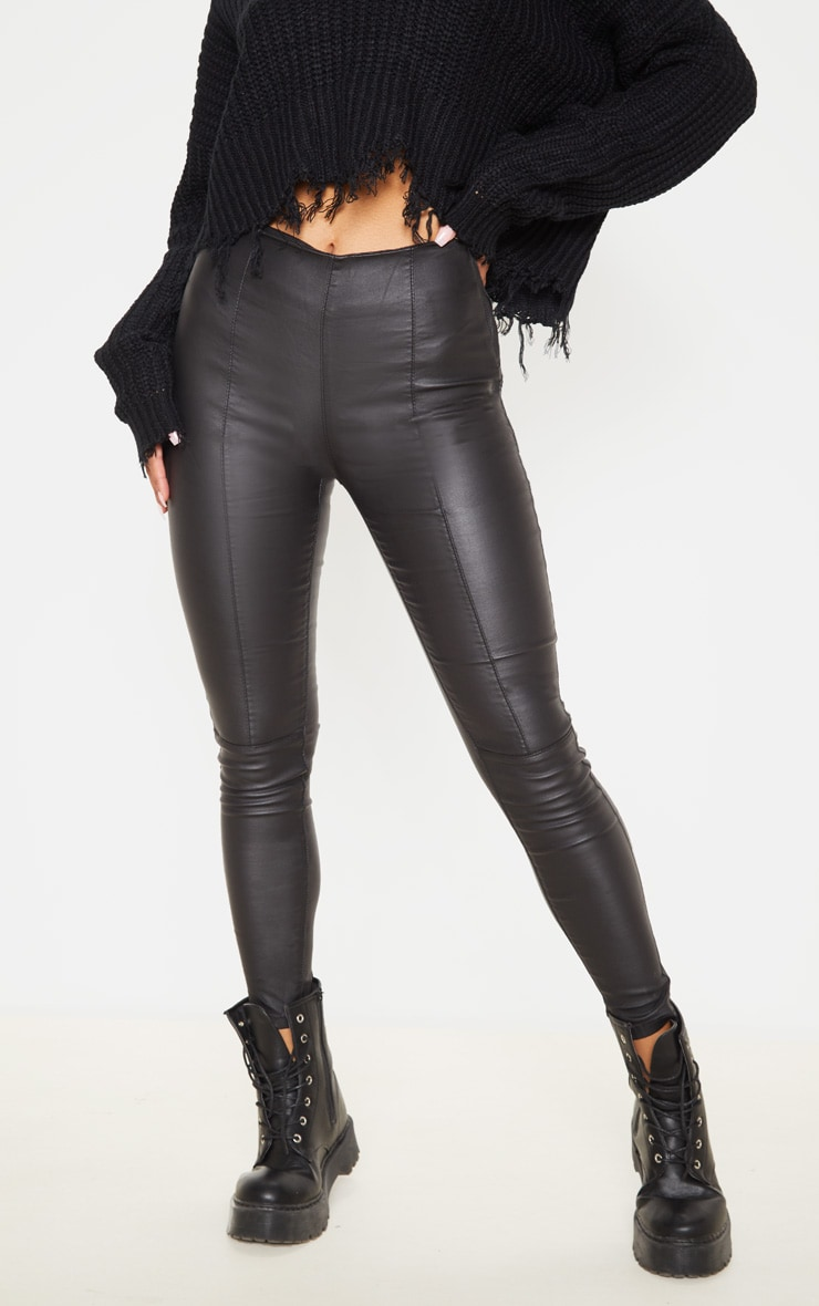 Black Zip Side Coated Jeans  2