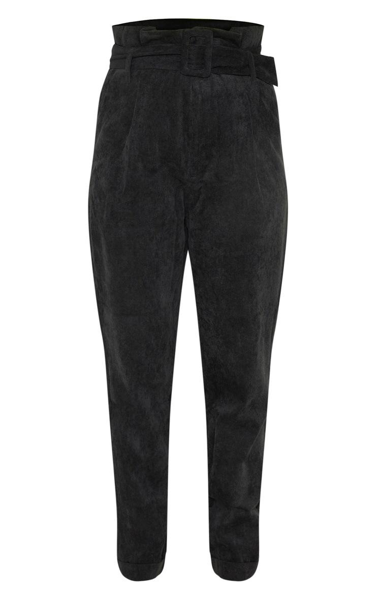 Petite Black Cord Paperbag Belted Pants 3