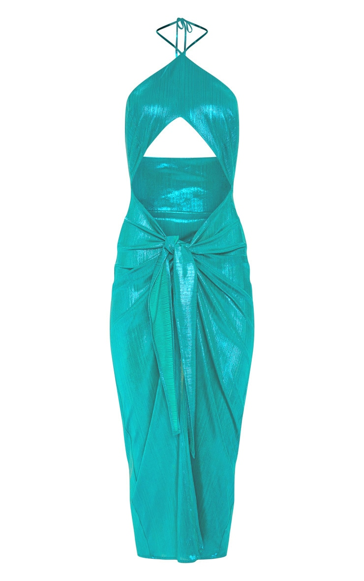 Teal Metallic Tie Front Beach Dress 3