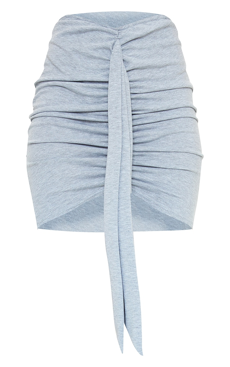 Grey Marl Jersey Drape Detail Mini Skirt 6