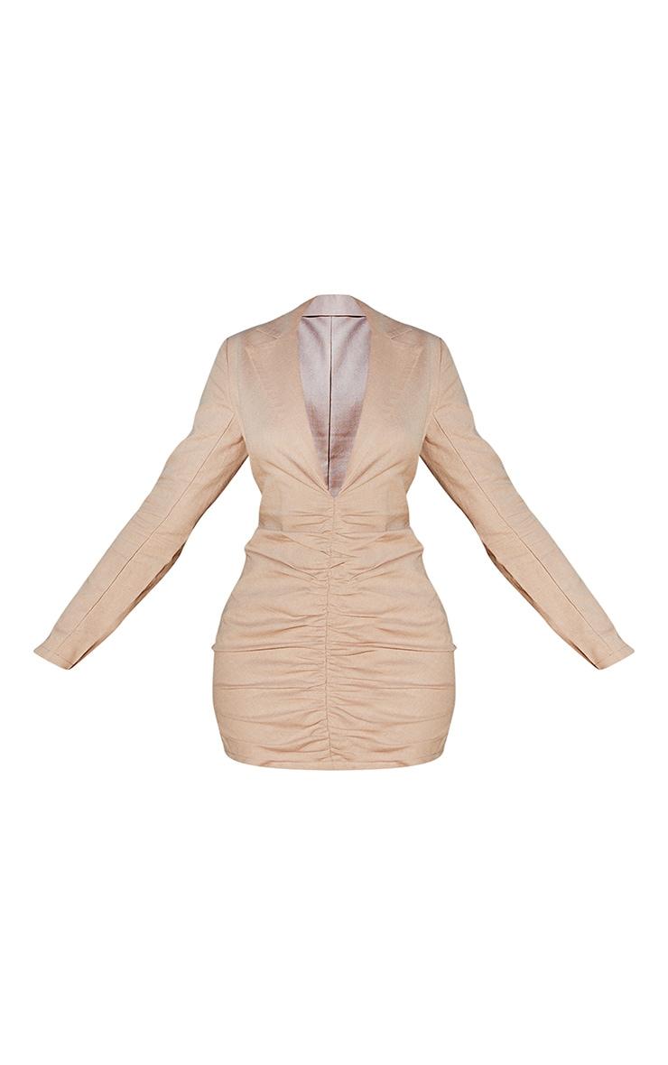 Stone Plunge Ruched Front Blazer Dress 5