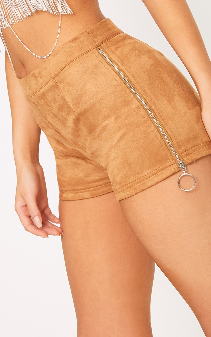 Camel Faux Suede Ring Zip Shorts 7
