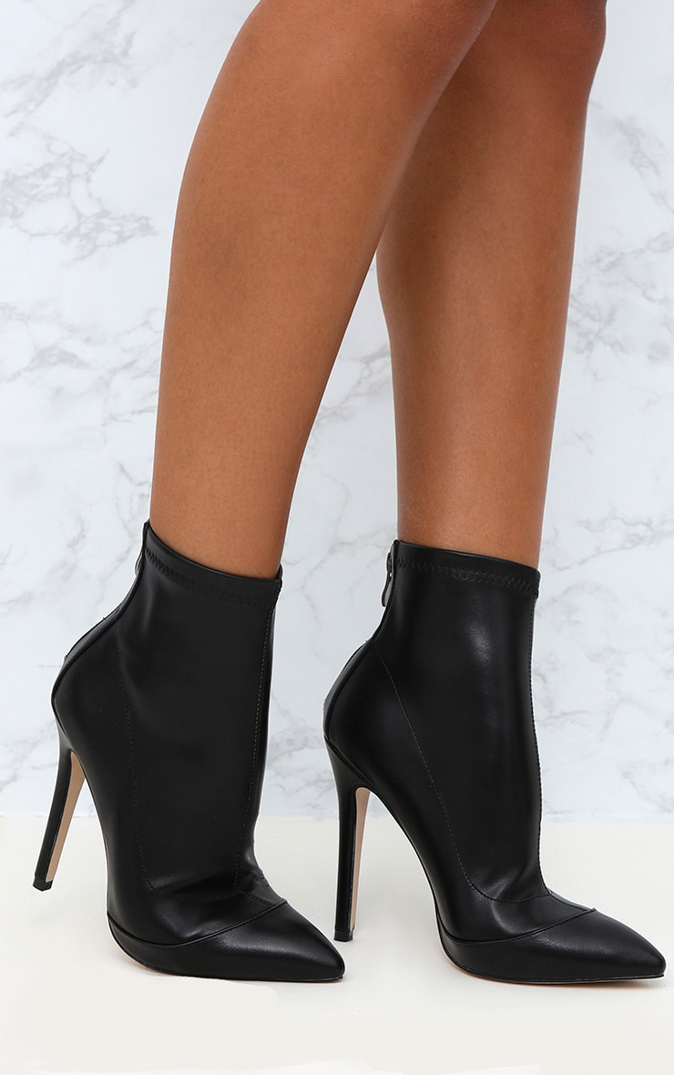 Black PU Pointed Ankle Sock Boots