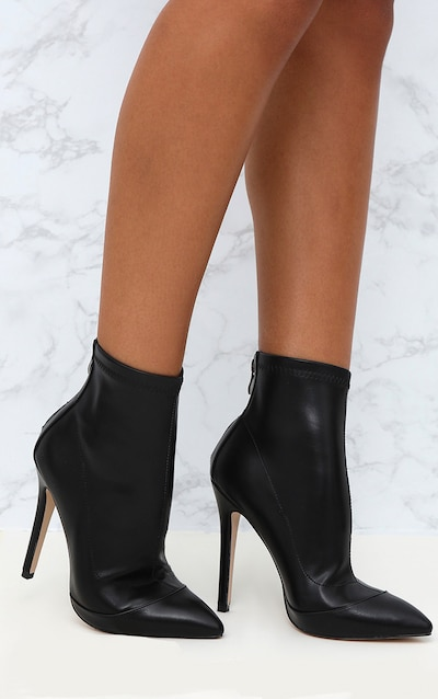 71759f28922a Black PU Pointed Ankle Sock Boots