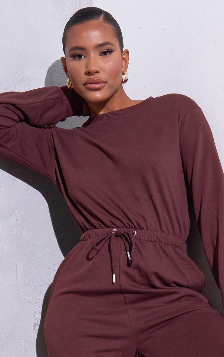 RENEW Chocolate Long Sleeve Sweat Jumpsuit 4