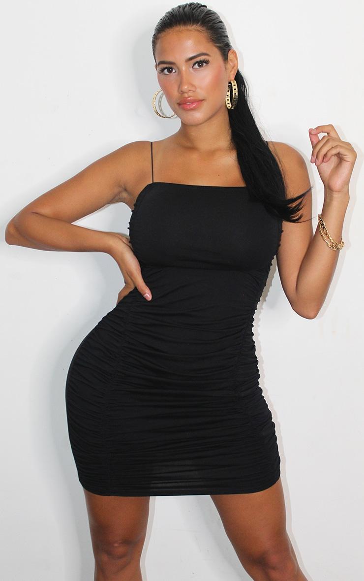 Shape Black Cotton Spaghetti Strap Ruched Bodycon Dress 1