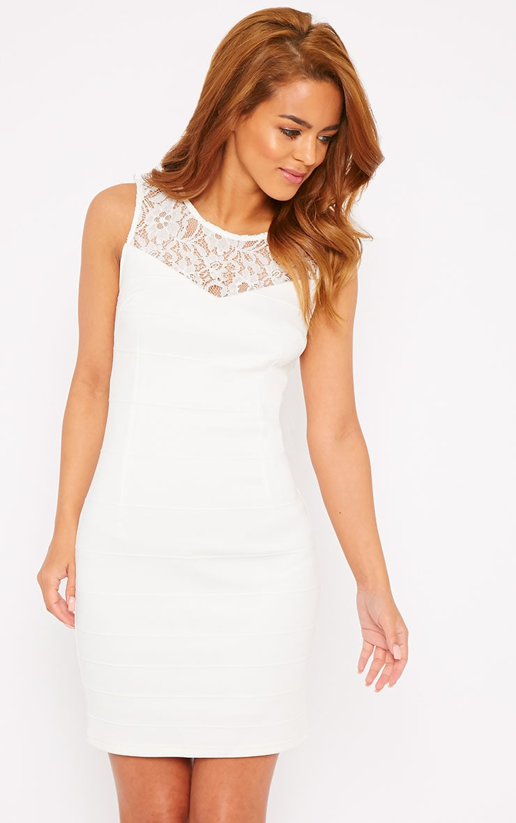Primrose Cream Lace Top Bandage Dress 1