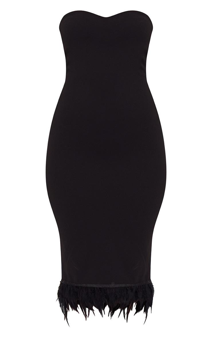 Black Bandeau Feather Hem Midi Dress 3