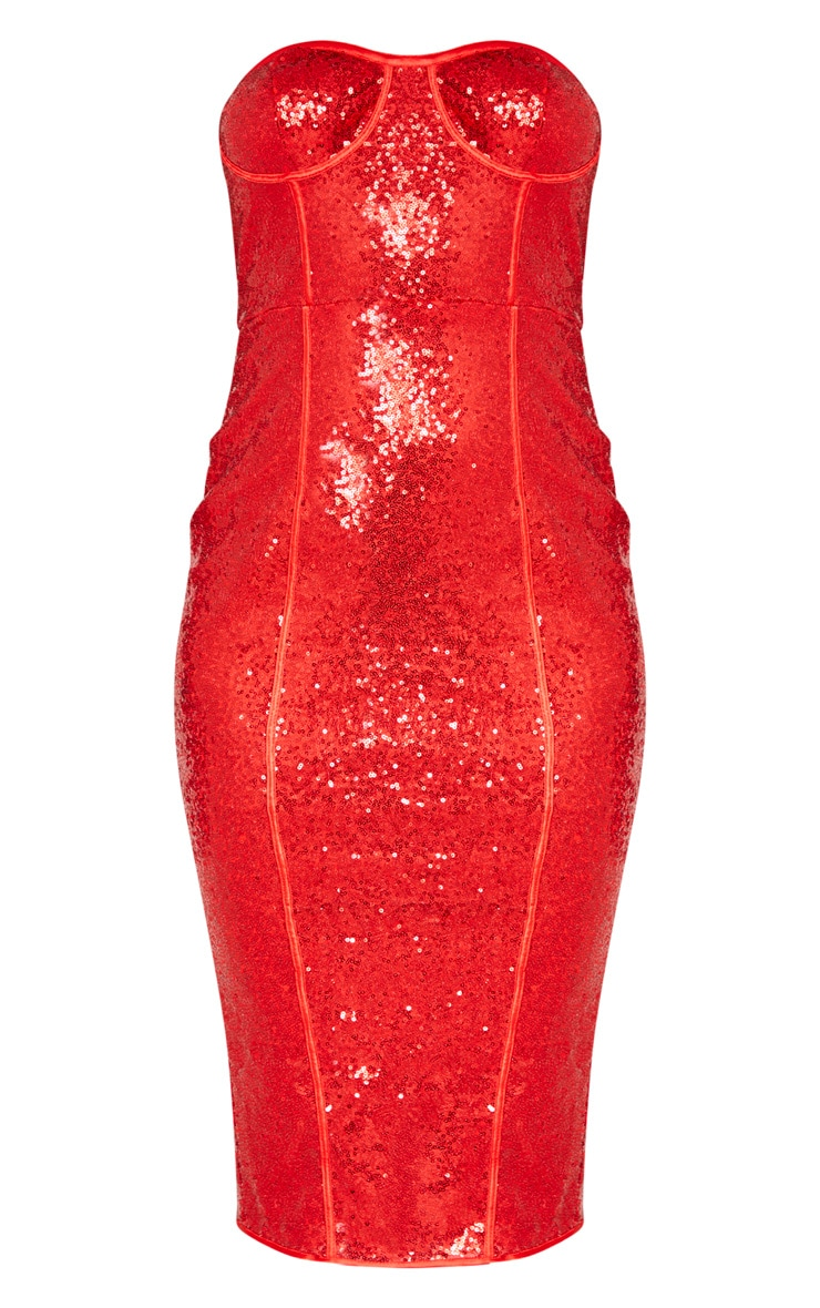 Red Sequin Binding Detail Midi Dress 3