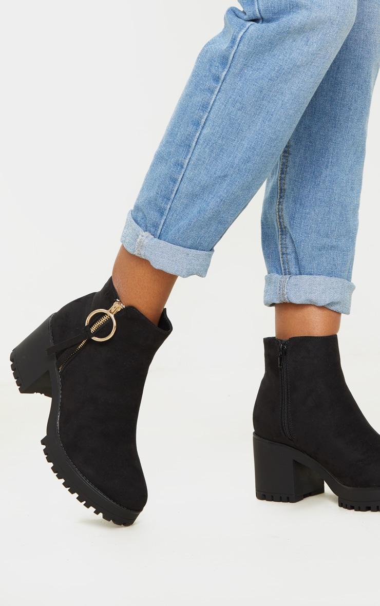 Black Faux Suede Side Ring Zip Block Heel Ankle Boot 2