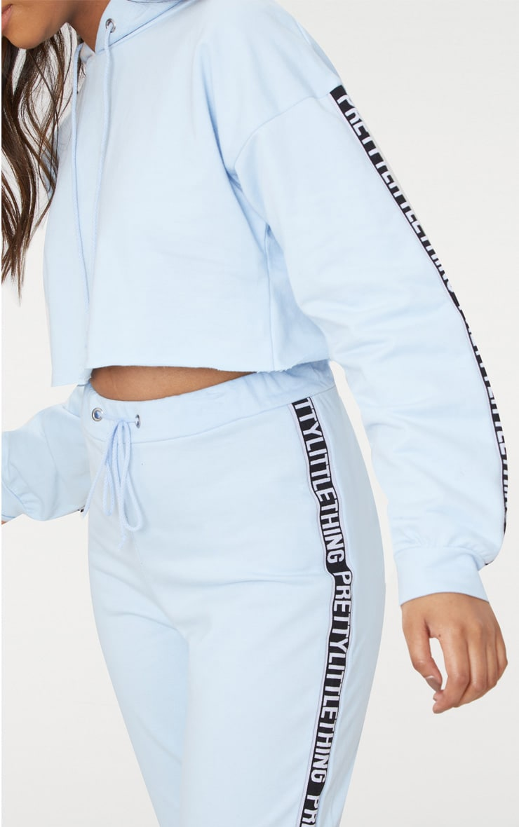 PRETTYLITTLETHING Petite Dusky Blue Cropped Hoodie 5