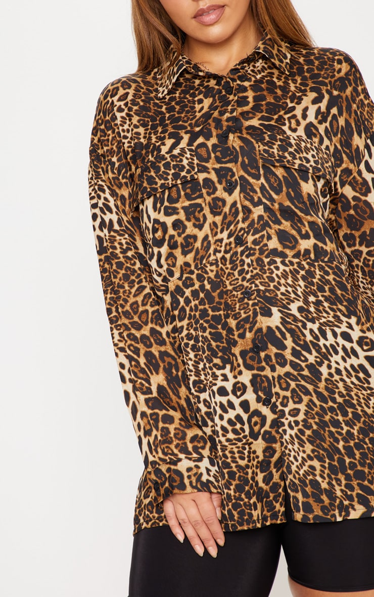 Plus Brown Leopard Print Pocket Detail Oversized Shirt 5