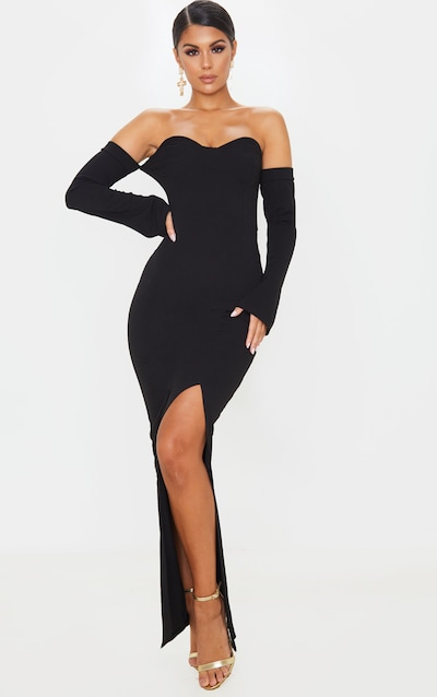 Black Cup Detail Bardot Sleeve Maxi Dress