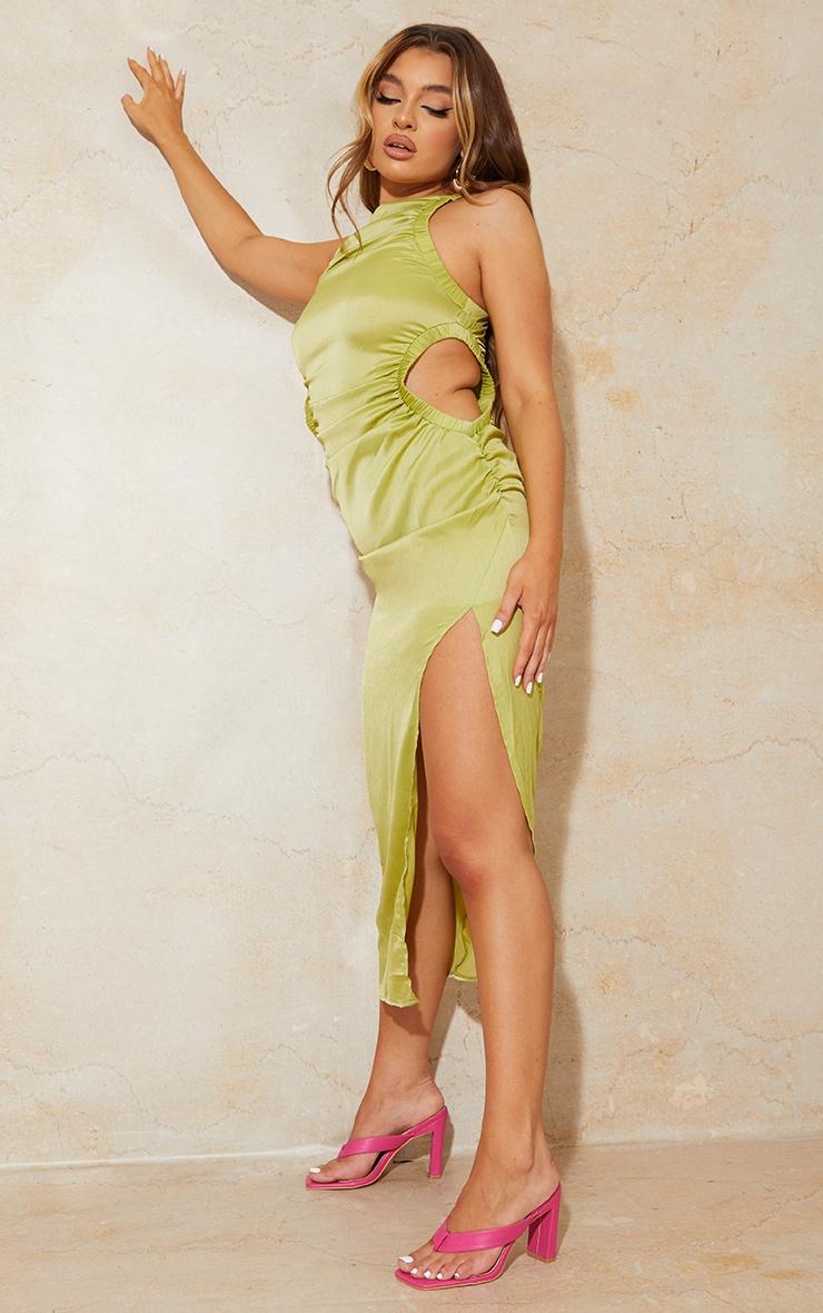 Lime Textured Racer Neck Waist Cut Out Midaxi Dress 3