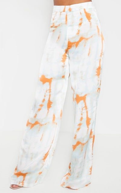 Orange Tie Dye High Waisted Wide Leg Trouser