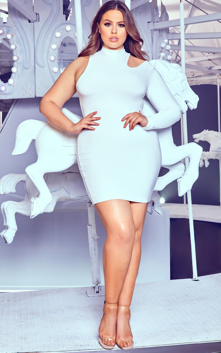 Plus White High Neck One Shoulder Bodycon Dress