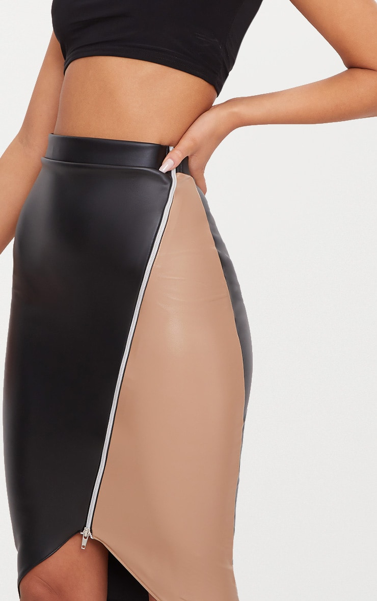 Black Faux Leather Asymmetric Zip Midi Skirt 6