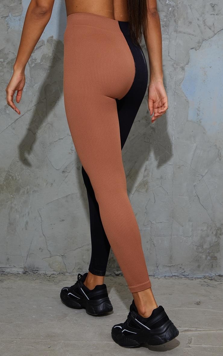 Nude 2 Colour Block Soft Rib Gym Leggings 3