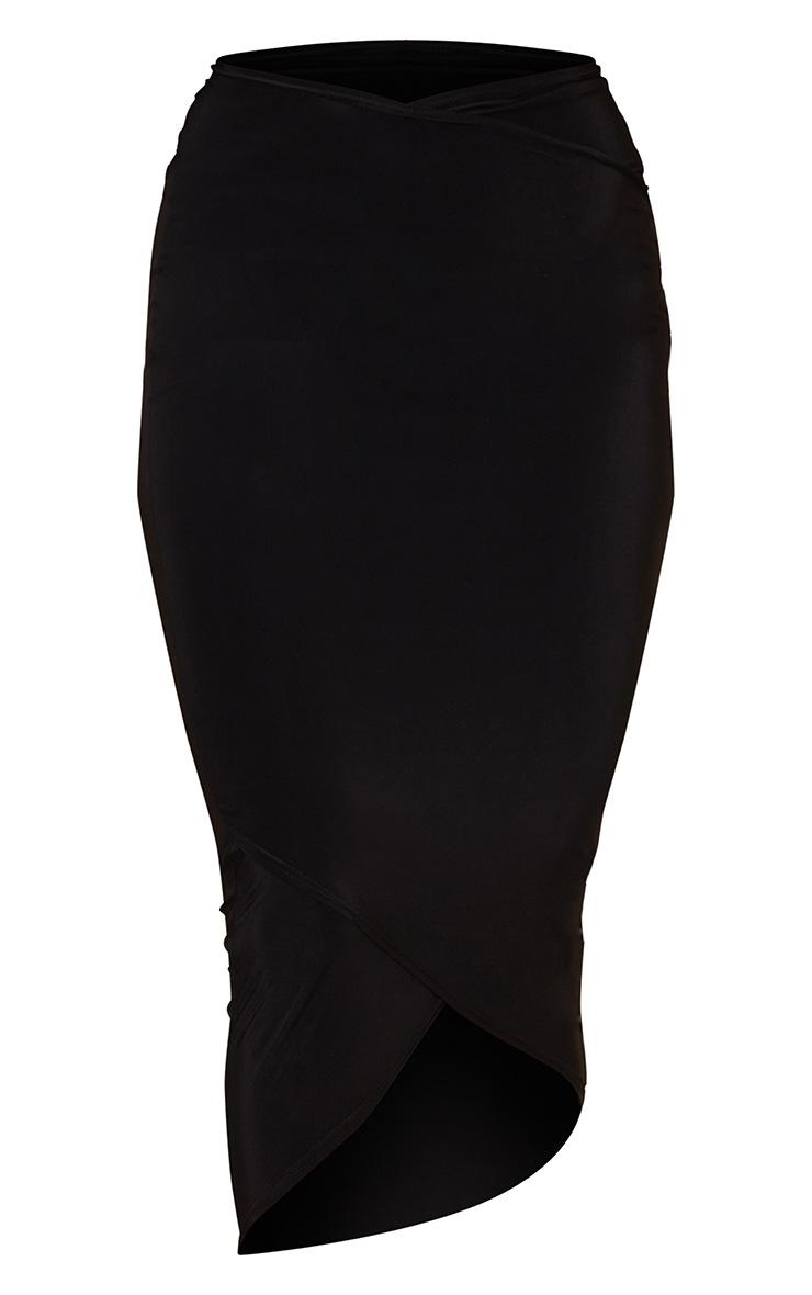 Black Slinky Wrap Round Midaxi Skirt 5