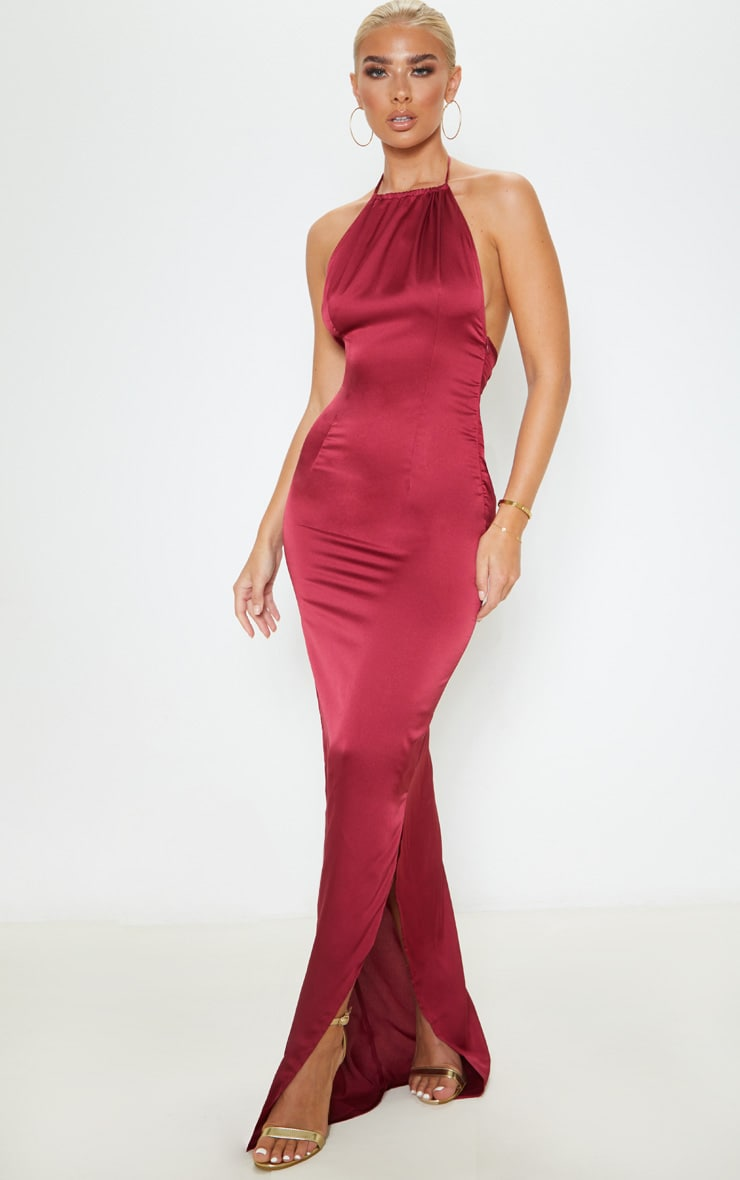 Burgundy Cowl Back Halterneck Maxi Dress 1