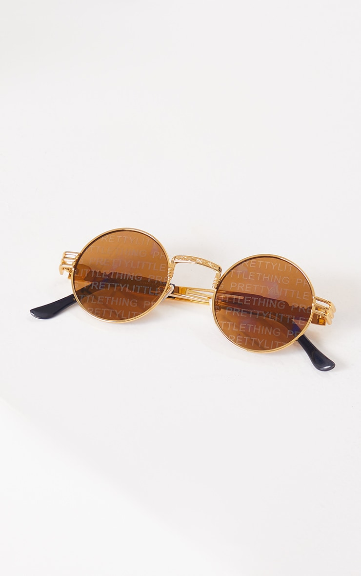 PRETTYLITTLETHING Gold With Brown Lens Round Sunglasses 2