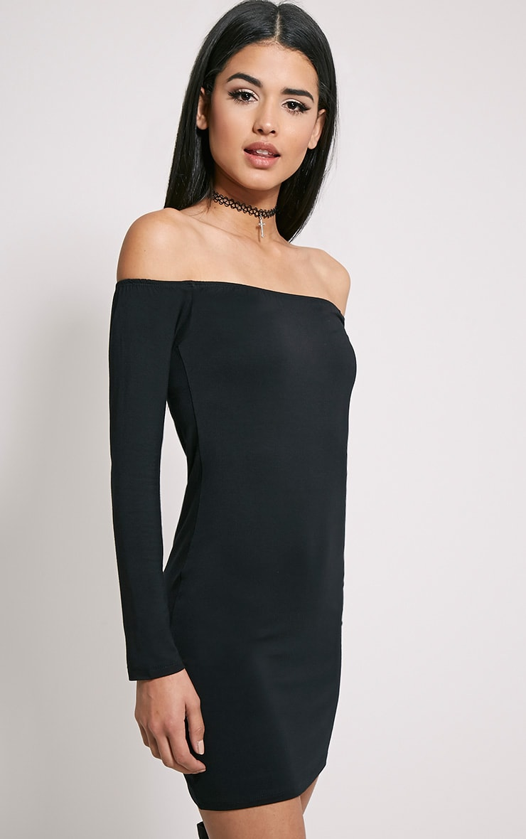 Carina Black Bardot Mini Dress 1