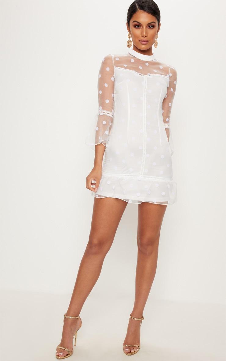 White Spotty Mesh Frill Hem 3/4 Sleeve Bodycon Dress 4