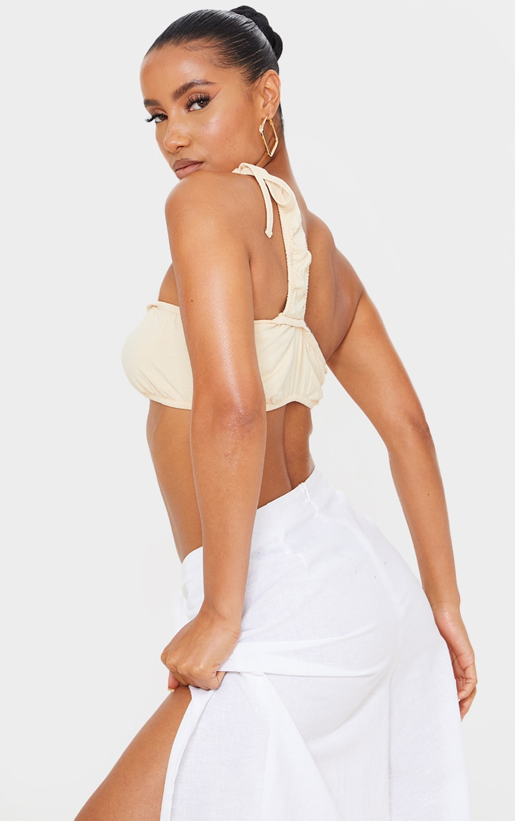 Sand Cotton Ruched Tie One Shoulder Bralet 2