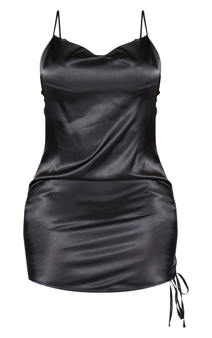 Shape Black Satin Cowl Neck Ruched Side Bodycon Dress 3