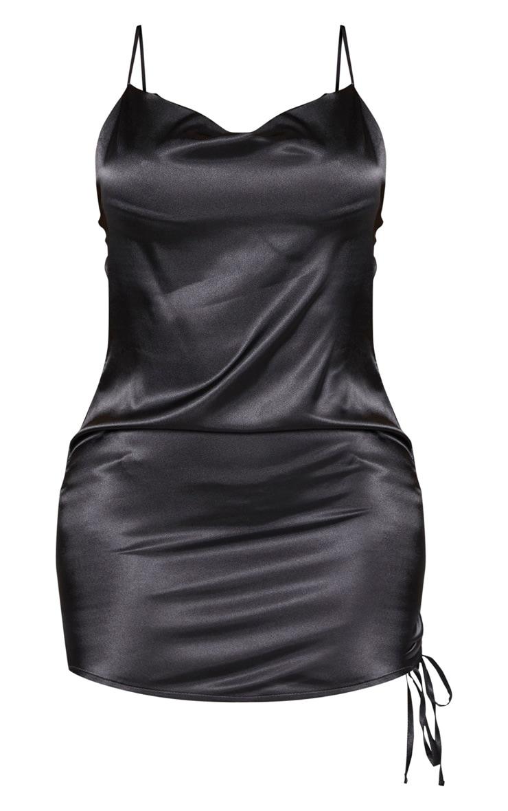 Shape - Robe moulante satinée froncée sur le côté à col bénitier noire 3