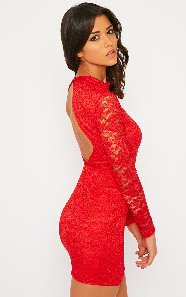 Amber Red Premium Lace Cut Out Back Dress 4