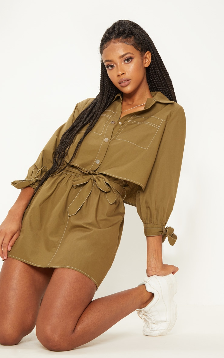 Khaki Crop Popper Front Shirt