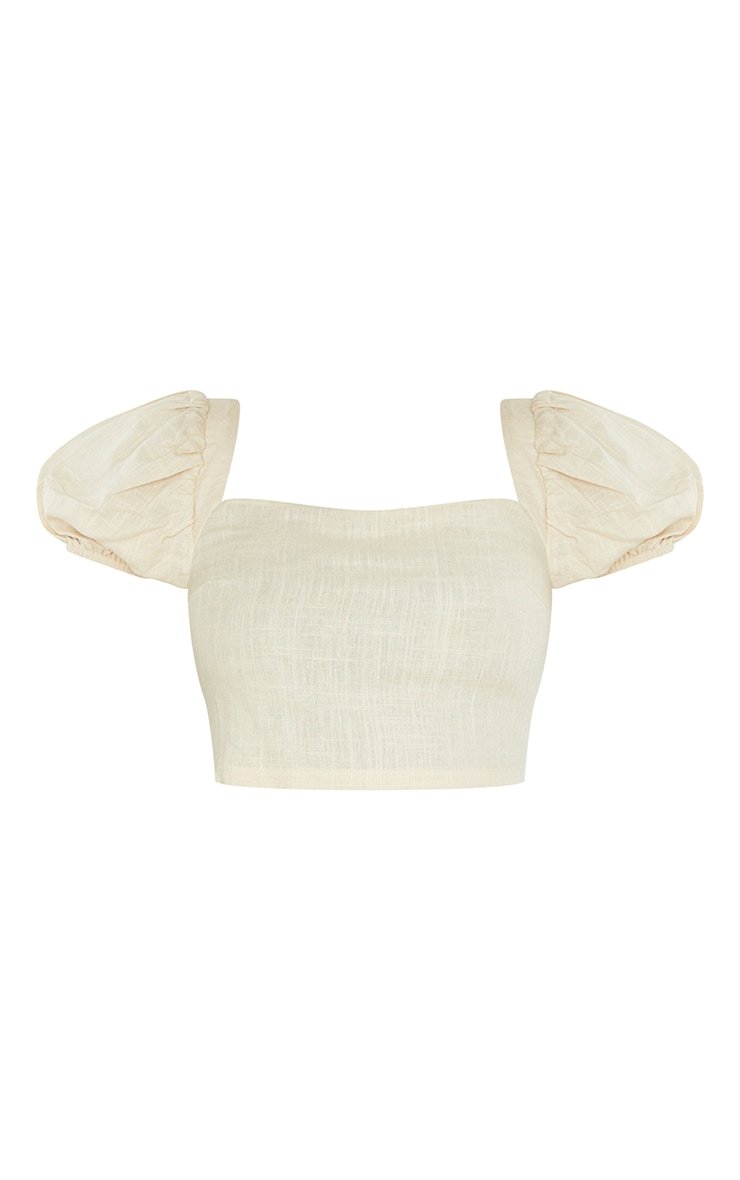 Tall Stone Puff Shoulder Cropped Blouse 5