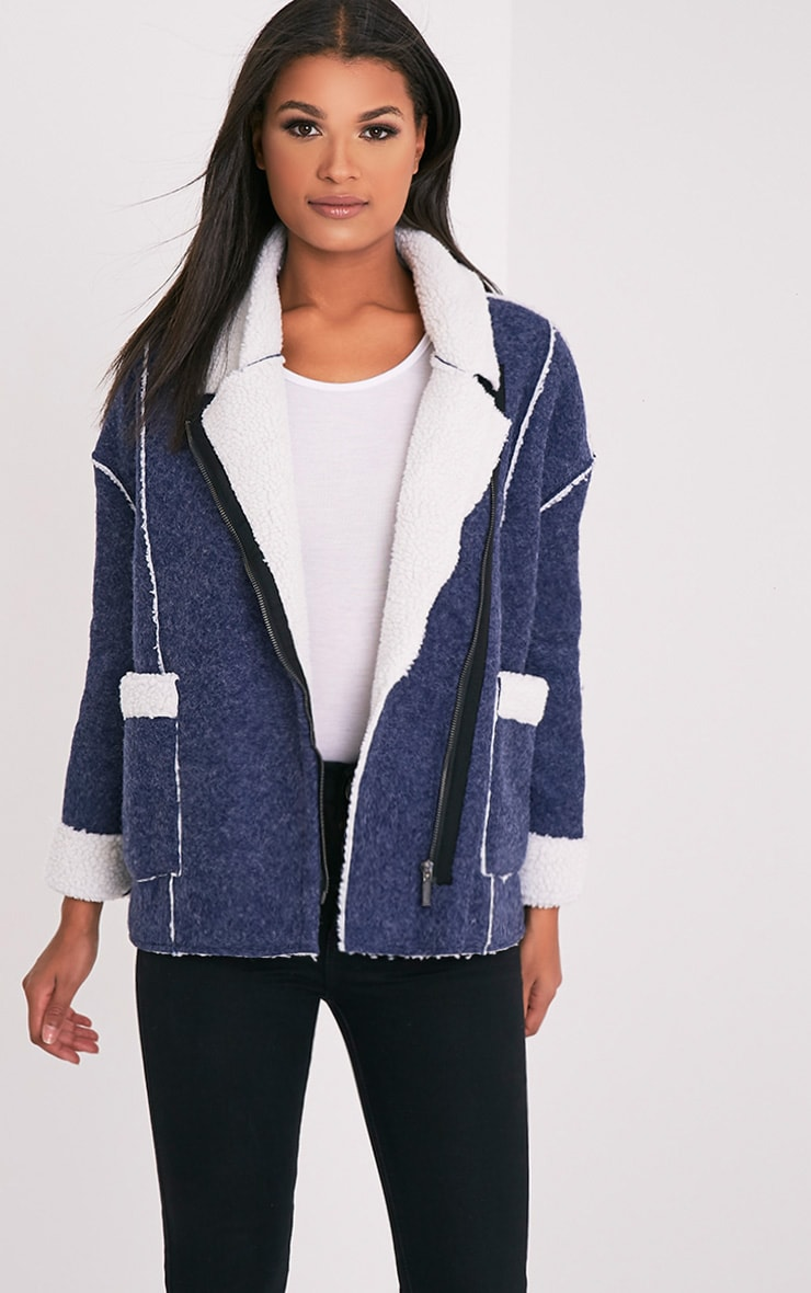 Erika Blue Faux Shearling Wool Oversized Jacket 1