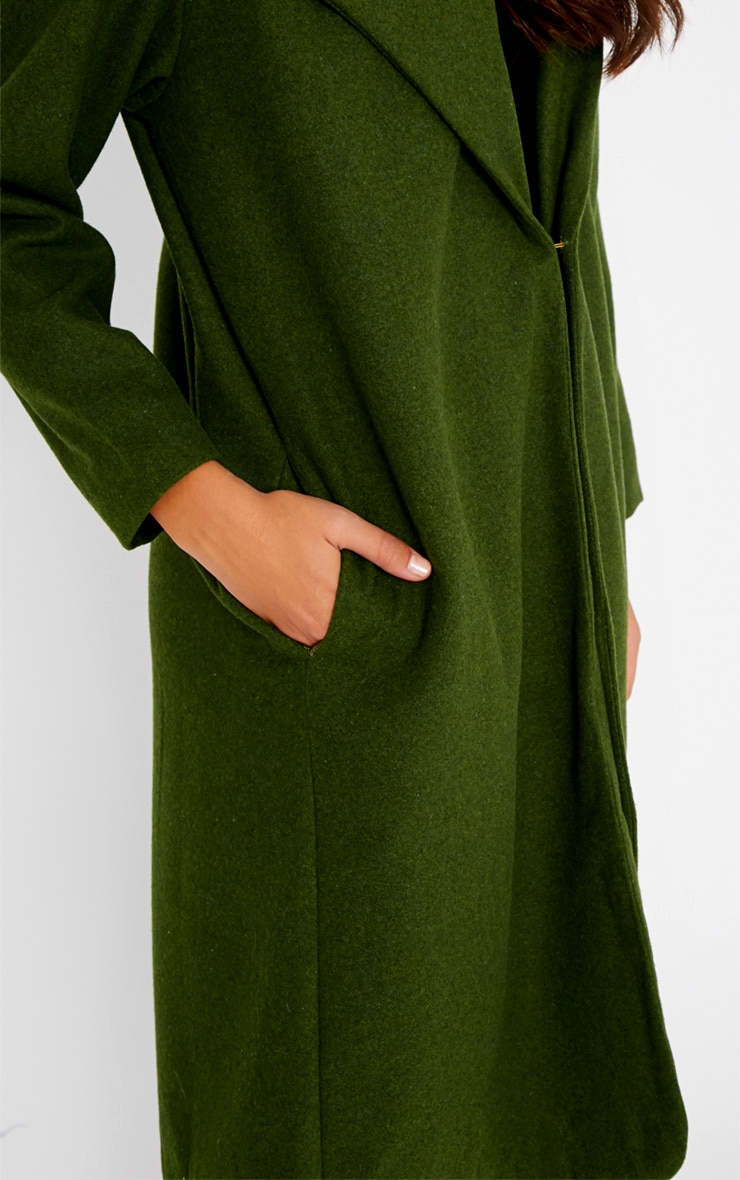 Gaia Green Brushed Wool Premium Waterfall Coat 5