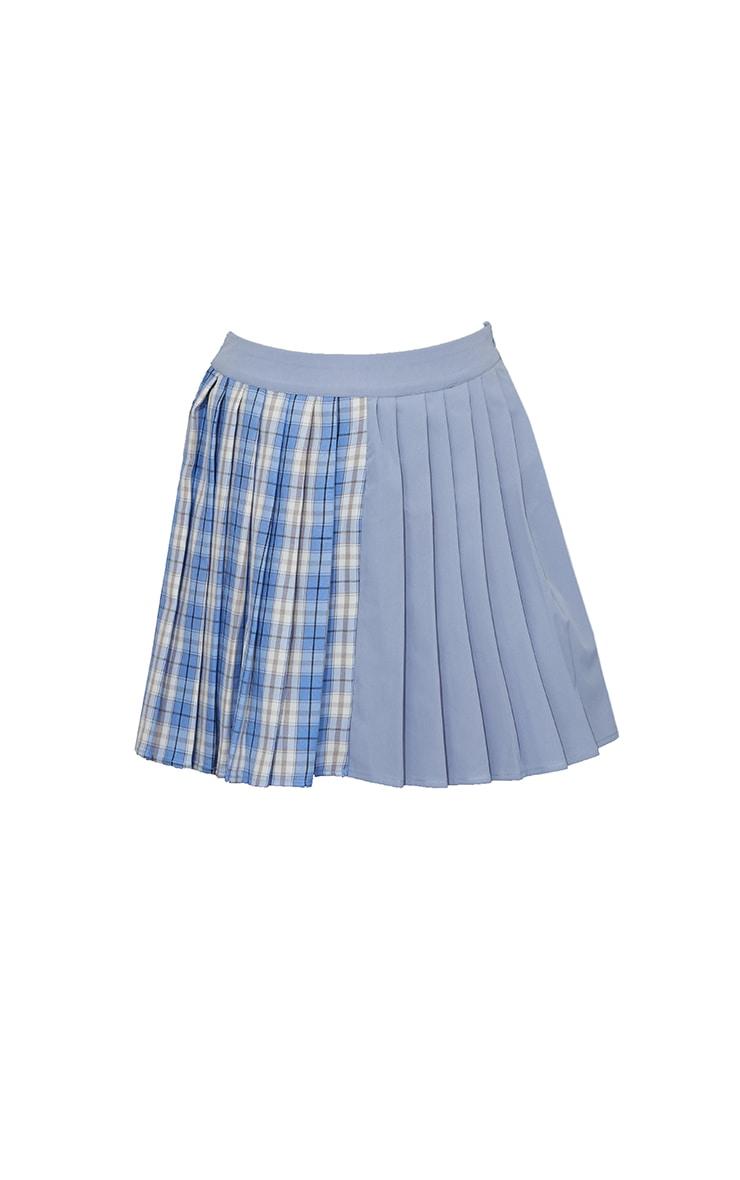 Blue Check Woven Pleated Skater Skirt 6