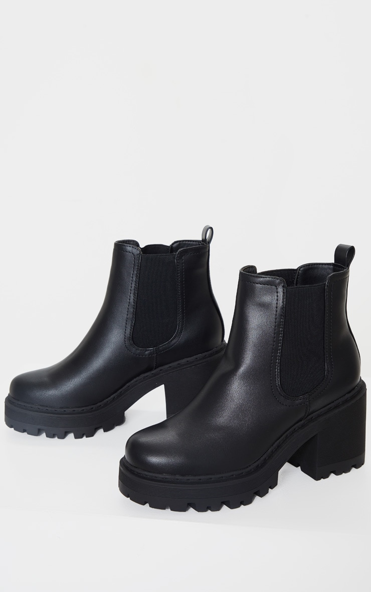 Black Wide Fit Chunky Heeled Chelsea Boot 4