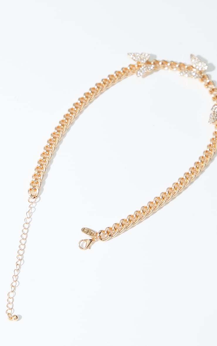 Gold Chain Multi Pave Butterfly Necklace 4